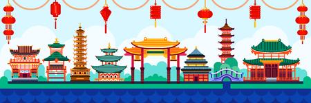 Ilustración de Chinese town design elements. Travel to China vector flat illustration. Traditional pagoda and lanterns background. - Imagen libre de derechos