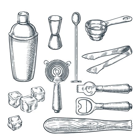 Illustration pour Cocktail bar tools and equipment vector sketch illustration. Hand drawn icons and design elements for bartender work. - image libre de droit