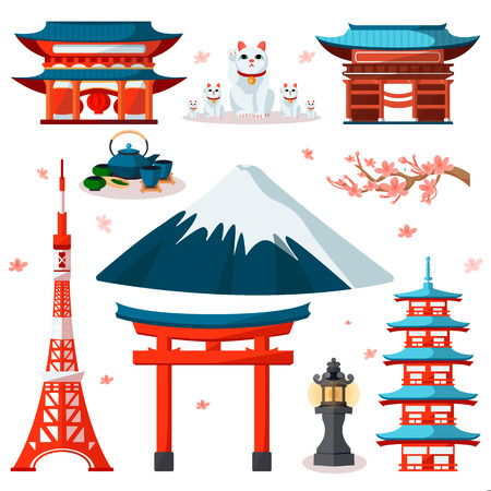 Illustration pour Travel to Asia, Japan icons and isolated design elements set. Vector Japanese and Tokyo culture symbols and landmarks. - image libre de droit