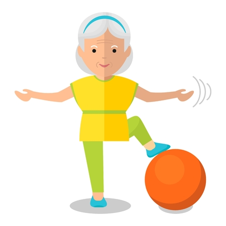 Illustration for elderly woman with bal - Royalty Free Image
