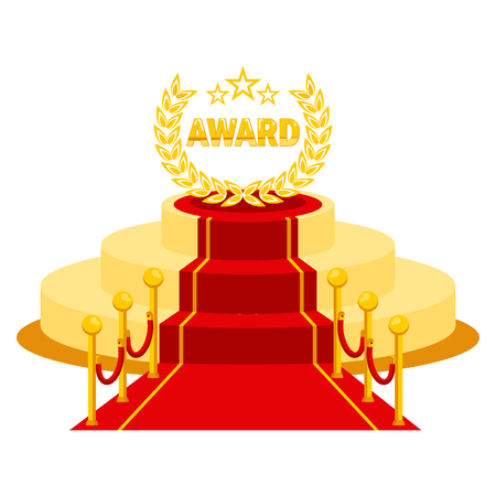 Illustration pour Red carpet entrance on event for vip person. Award podium for famous and celebrities, winner, actor, producer and businessmen. - image libre de droit