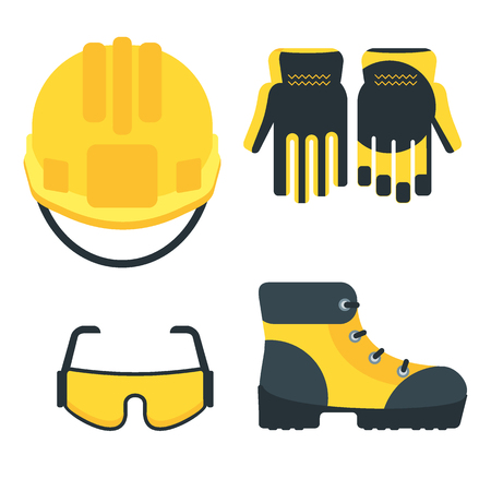 Ilustración de Set of protective equipment icons. Conceptual image of tools for repair, construction and builder. Concept image of work wear. Cartoon flat vector illustration. Objects isolated on a background. - Imagen libre de derechos
