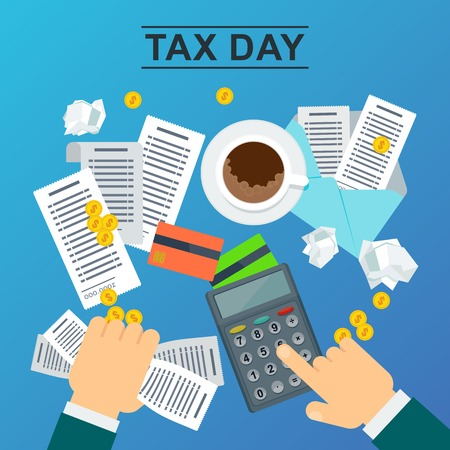 Illustration for Tax day concept. Man holds accounts in his hand and calculates the cost of a calculator. Flat vector illustration on blue background. - Royalty Free Image