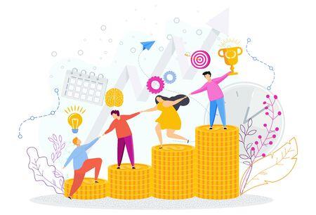 Illustration pour People help each other on ladder of financial success. - image libre de droit