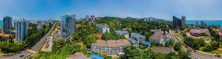 Photo for Sochi, Russia - july, 2018. Aerial panoramic view at summer. Wide format. - Royalty Free Image