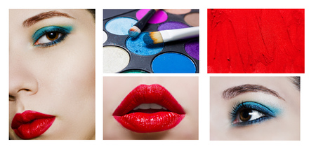 Collage with makeup products and close up portrait of beauty model. Fashion make up trends: red lips and blue eyeshadows.