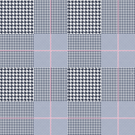 Illustration for Prince of Wales pattern in navy blue, white and pale amaranth pink. - Royalty Free Image