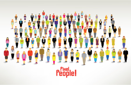 Photo pour a large group of pixel people gather together vector icon design - image libre de droit