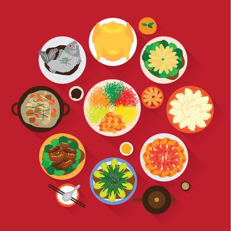 Illustration pour Chinese New Year Reunion Dinner Vector Design - image libre de droit