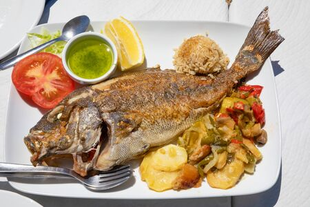 Photo pour tray with a grilled fish known as Donkey or Borriquete (Plectorhinchus mediterraneus) in Spain, with potatoes and vegetables, rice, lemon and tomato - image libre de droit