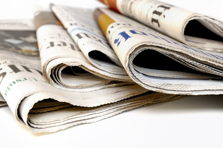 Photo for Various newspapers over white background  - Royalty Free Image