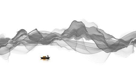 Foto de Abstract ink line landscape painting - Imagen libre de derechos