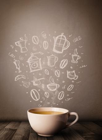 Photo pour Coffee mug with hand drawn kitchen accessories, close up - image libre de droit