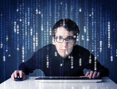 Photo pour Hacker decoding information from futuristic network technology with white symbols - image libre de droit