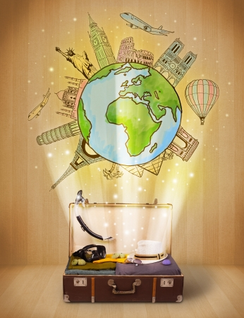 Foto de Luggage with travel around the world illustration concept on grungy background - Imagen libre de derechos