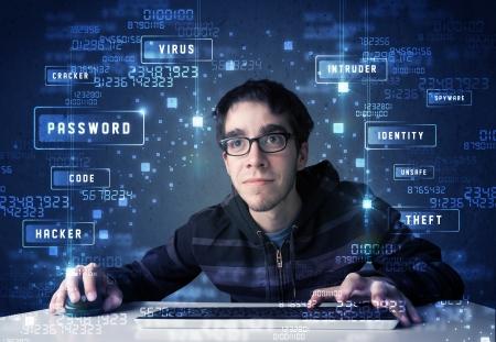 Foto de Hacker programing in technology enviroment with cyber icons and symbols - Imagen libre de derechos