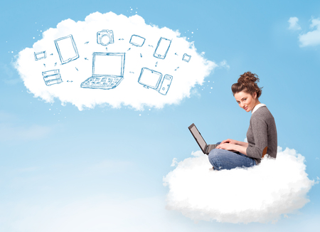 Pretty young woman sitting in cloud with laptop, cloud computing concept