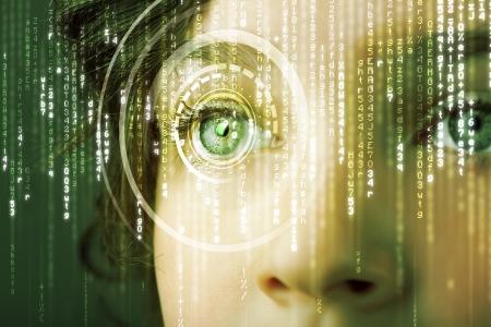 Photo pour Modern cyber woman with matrix eye concept - image libre de droit
