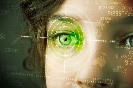Foto de Cyber woman with modern military target eye concept - Imagen libre de derechos