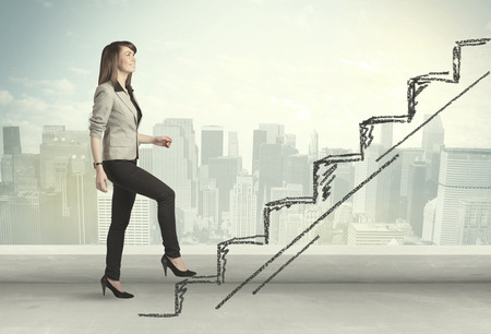 Photo for Business woman climbing up on hand drawn staircase concept on city background - Royalty Free Image