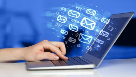 Foto de Concept of sending e-mails from your computer - Imagen libre de derechos