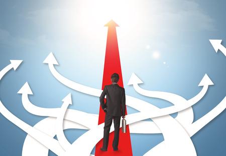 Foto für Concept of confused businessman with different direction arrows - Lizenzfreies Bild