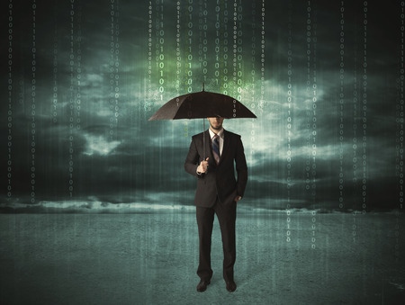 Photo pour Business man standing with umbrella data protection concept on background - image libre de droit