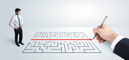 Photo for Business man looking at hand drawing solution for maze solution concept - Royalty Free Image