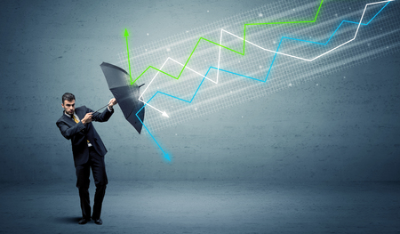 Photo pour Business person with umbrella and colorful stock market arrows concept - image libre de droit