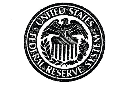 Illustration pour Sign of the Federal Reserve System in the U S  paper money - image libre de droit