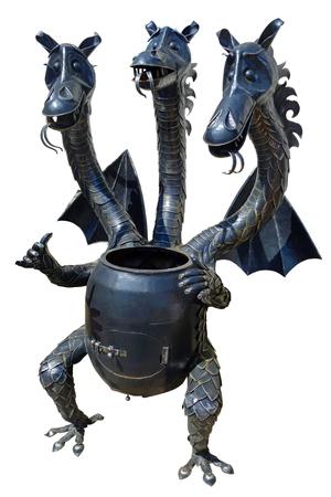 Foto de Metal roaster in the shape slavic dragon, isolated on a white background - Imagen libre de derechos