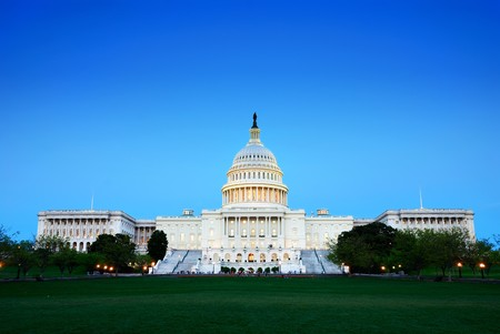 Photo pour Capitol Hill Building at dusk with light and blue sky, Washington DC. - image libre de droit