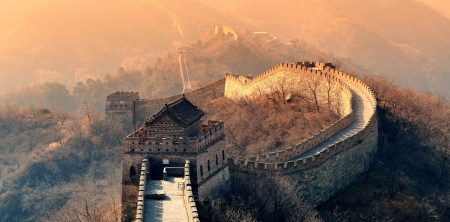 Photo for Great Wall in the morning with sunrise and colorful sky in Beijing, China. - Royalty Free Image