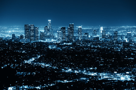 Photo pour Los Angeles at night with urban buildings in BW - image libre de droit