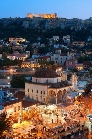 Photo pour Athens skyline rooftop view at night, Greece. - image libre de droit