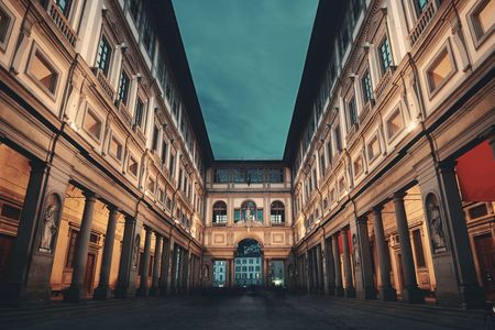 Photo for Uffizi Gallery in Piazzale degli Uffizi at night in Florence Italy. - Royalty Free Image