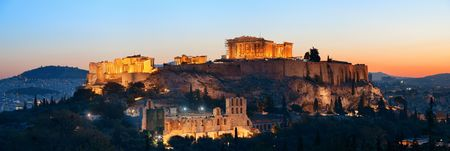 Photo pour Acropolis historical ruins panorama at sunset viewed from mountain, Greece - image libre de droit
