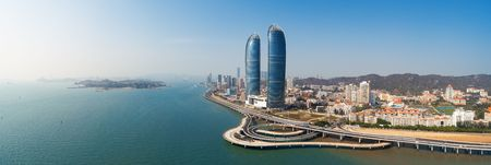Photo pour Aerial panorama view of city skyline in Xiamen. Xiamen was ranked as China's 2nd-most suitable city for living - image libre de droit