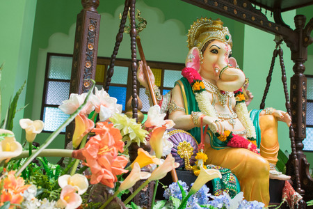 Photo for Ganesh Greeting showing photograph of lord ganesha idol  decoration - Royalty Free Image