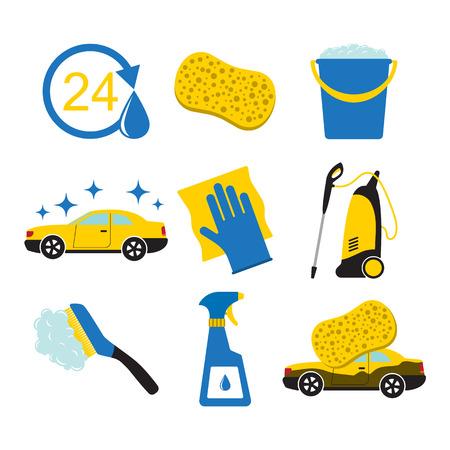 Ilustración de Set of car wash tools together with the icon of the car. - Imagen libre de derechos