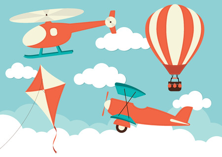 Illustration pour Helicopter, Plane, Kite & Hot Air Balloon - image libre de droit