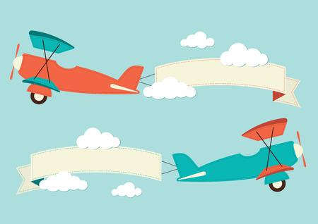 Illustration pour Illustration of a biplane with banners - image libre de droit