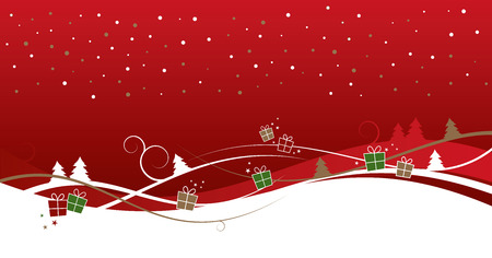 Christmas background with trees and gifts
