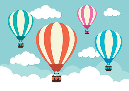 Ilustración de Hot Air Balloon and Clouds - Imagen libre de derechos