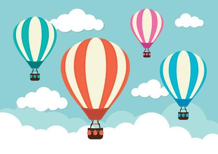 Illustration pour Hot Air Balloon and Clouds - image libre de droit