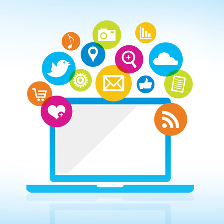 Illustration for Online Sharing - Computer with media icons - Royalty Free Image
