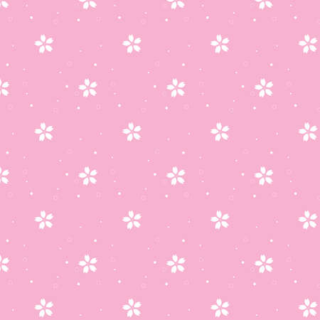 Cherry Blossoms Pink and White Spotted Seamless Pattern