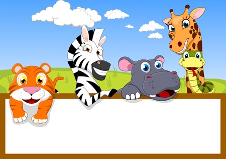 Photo pour Zoo Animal With Blank sign - image libre de droit