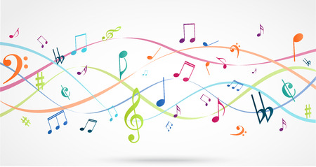 Illustration pour vector Illustration of Abstract Background with Colorful Music notes - image libre de droit