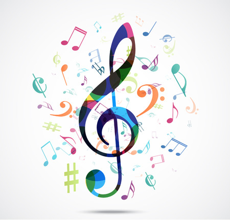 Illustration for Abstract background Colorful music notes - Royalty Free Image